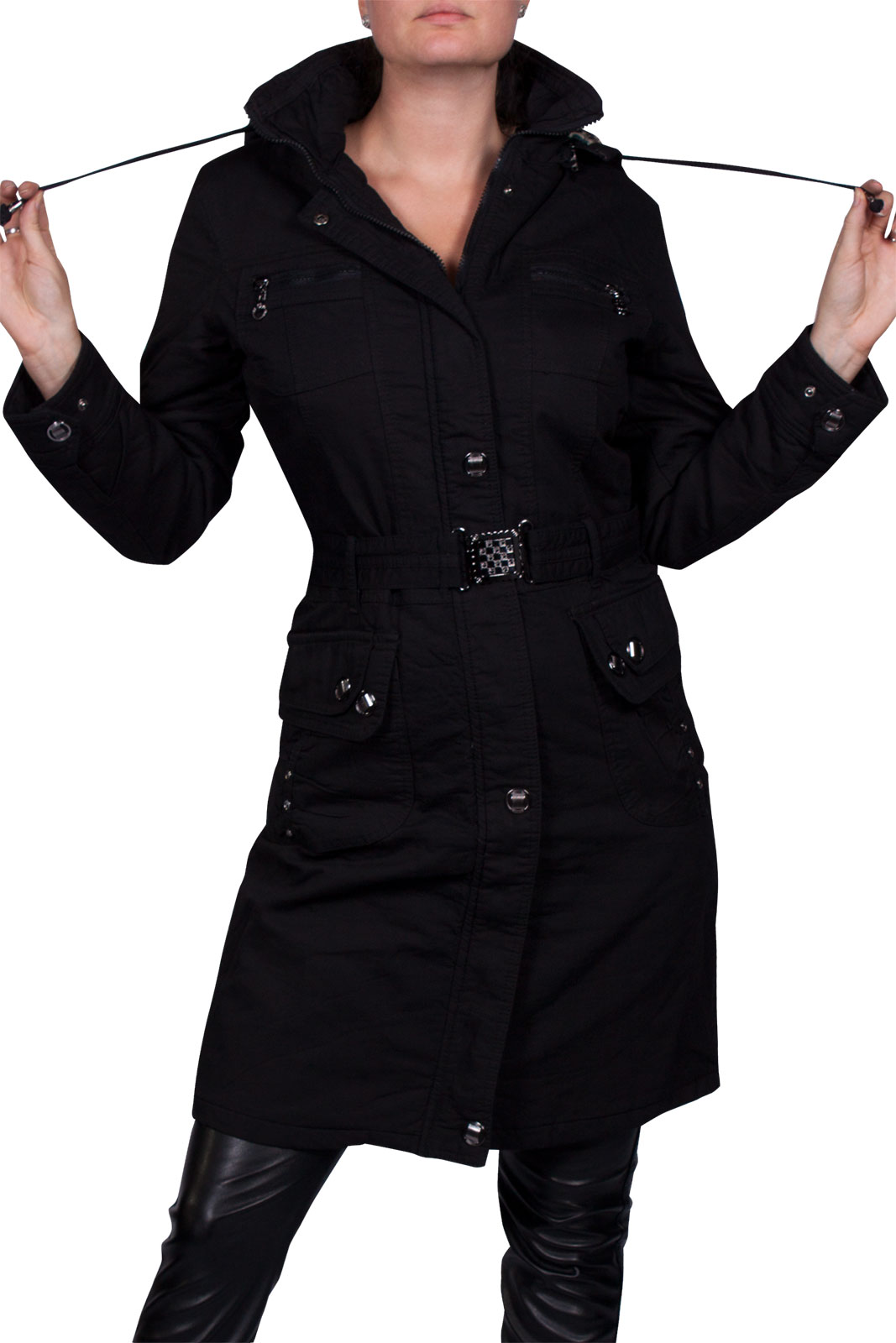 damen wintermantel trenchcoat lang cotton winterjacke parka mit kapuze schwarz l ebay. Black Bedroom Furniture Sets. Home Design Ideas