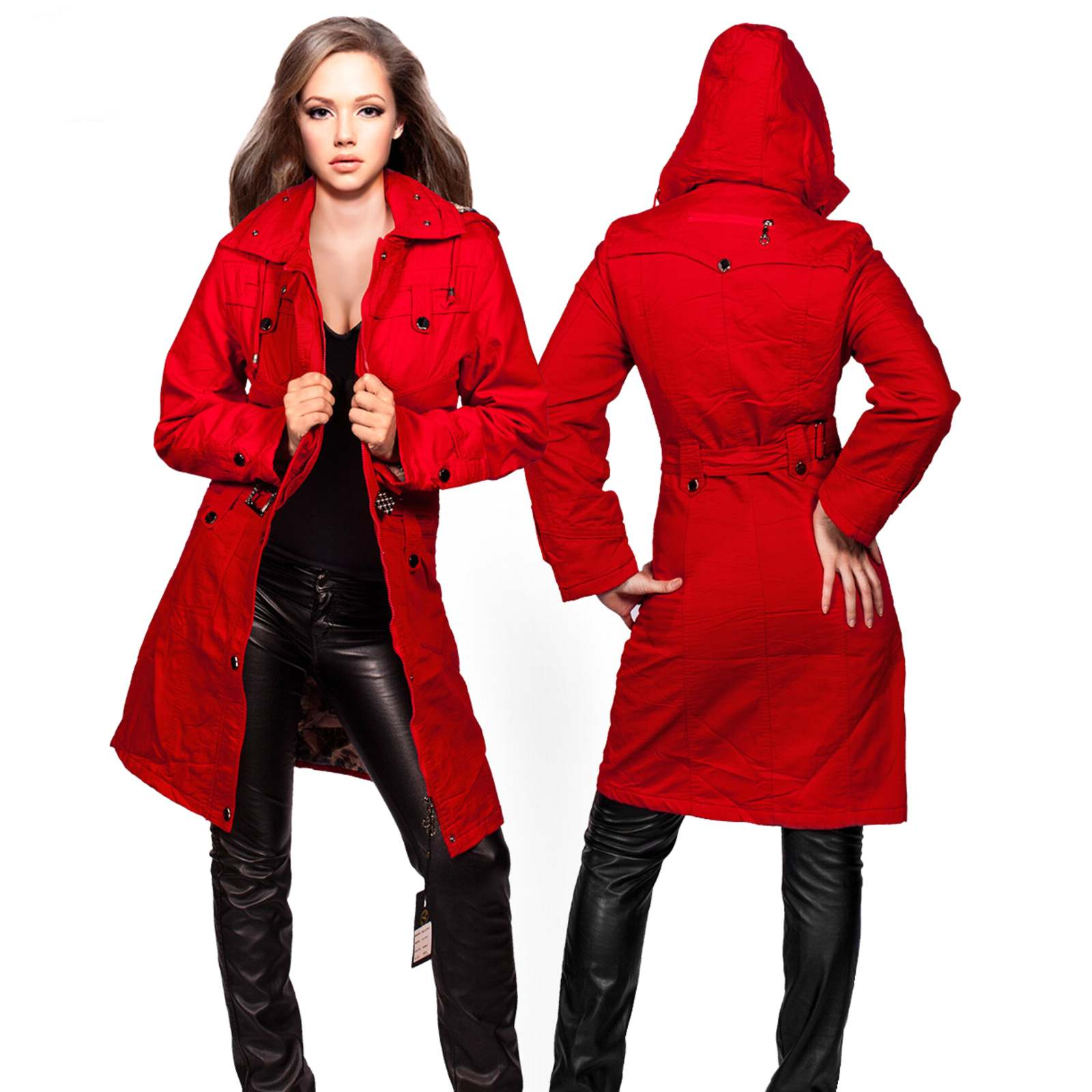 luxus damen wintermantel lang jacke tailliert winterjacke parka kapuze rot s ebay. Black Bedroom Furniture Sets. Home Design Ideas