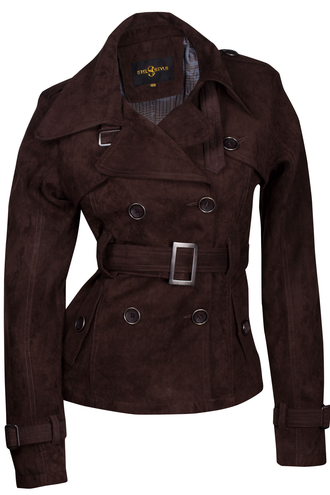sexy damen bergangsjacke trenchcoat jacke wildlederimitat mantel s m l xl ebay. Black Bedroom Furniture Sets. Home Design Ideas