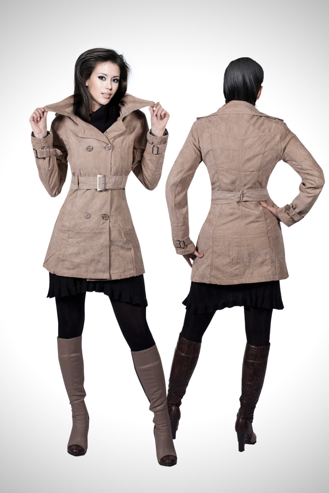 trendige trenchcoat damen jacke bergangsjacke wildlederimitat mantel s m l xl ebay. Black Bedroom Furniture Sets. Home Design Ideas