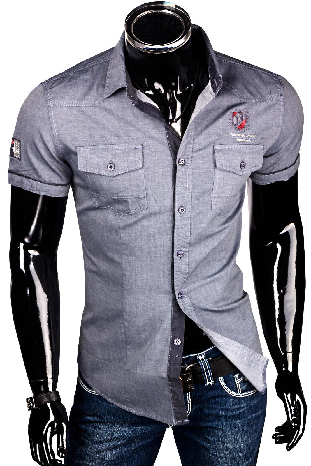 sommer herrenhemd kurzarm slim shirt hemd figurbetont. Black Bedroom Furniture Sets. Home Design Ideas