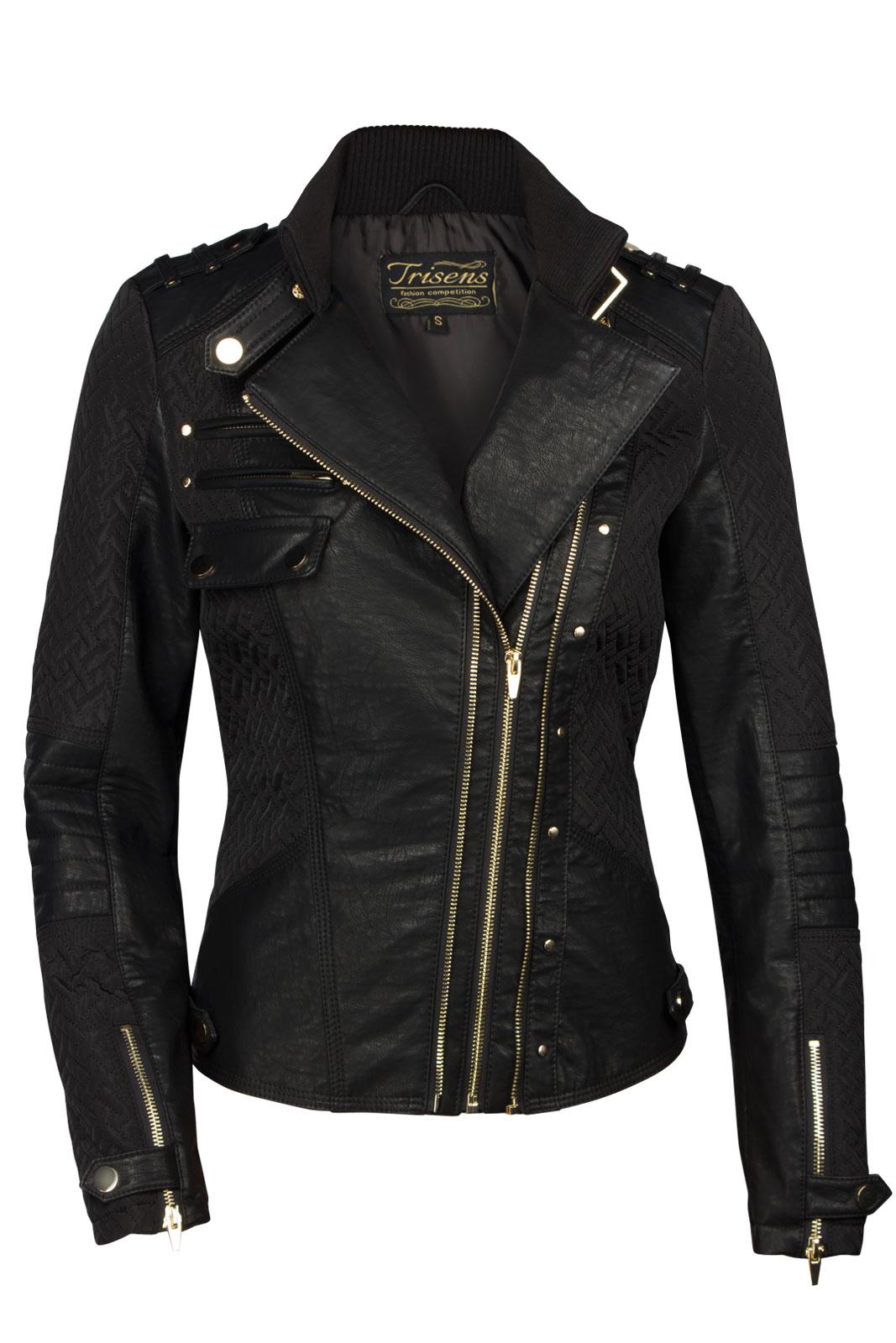 trisens damen lederjacke biker kurz motorrad jacke kunst pu leder schwarz gold ebay. Black Bedroom Furniture Sets. Home Design Ideas