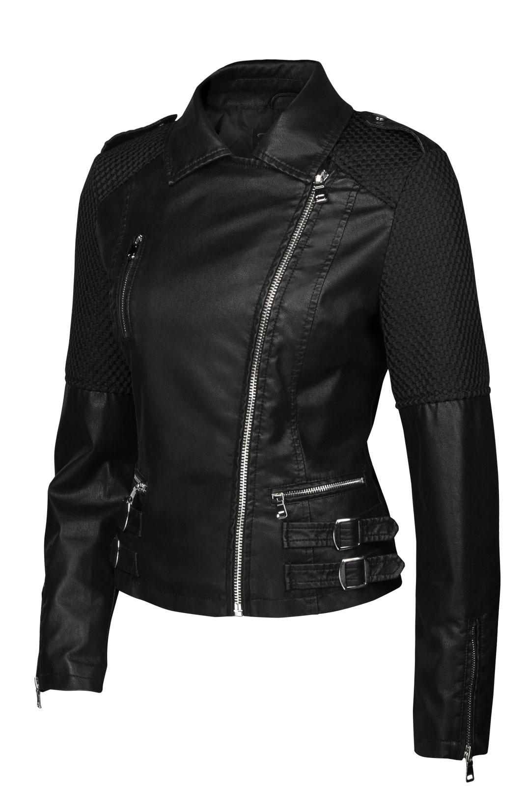 trisens damen lederjacke biker kurz motorrad jacke trenchcoat kunst pu leder ebay. Black Bedroom Furniture Sets. Home Design Ideas