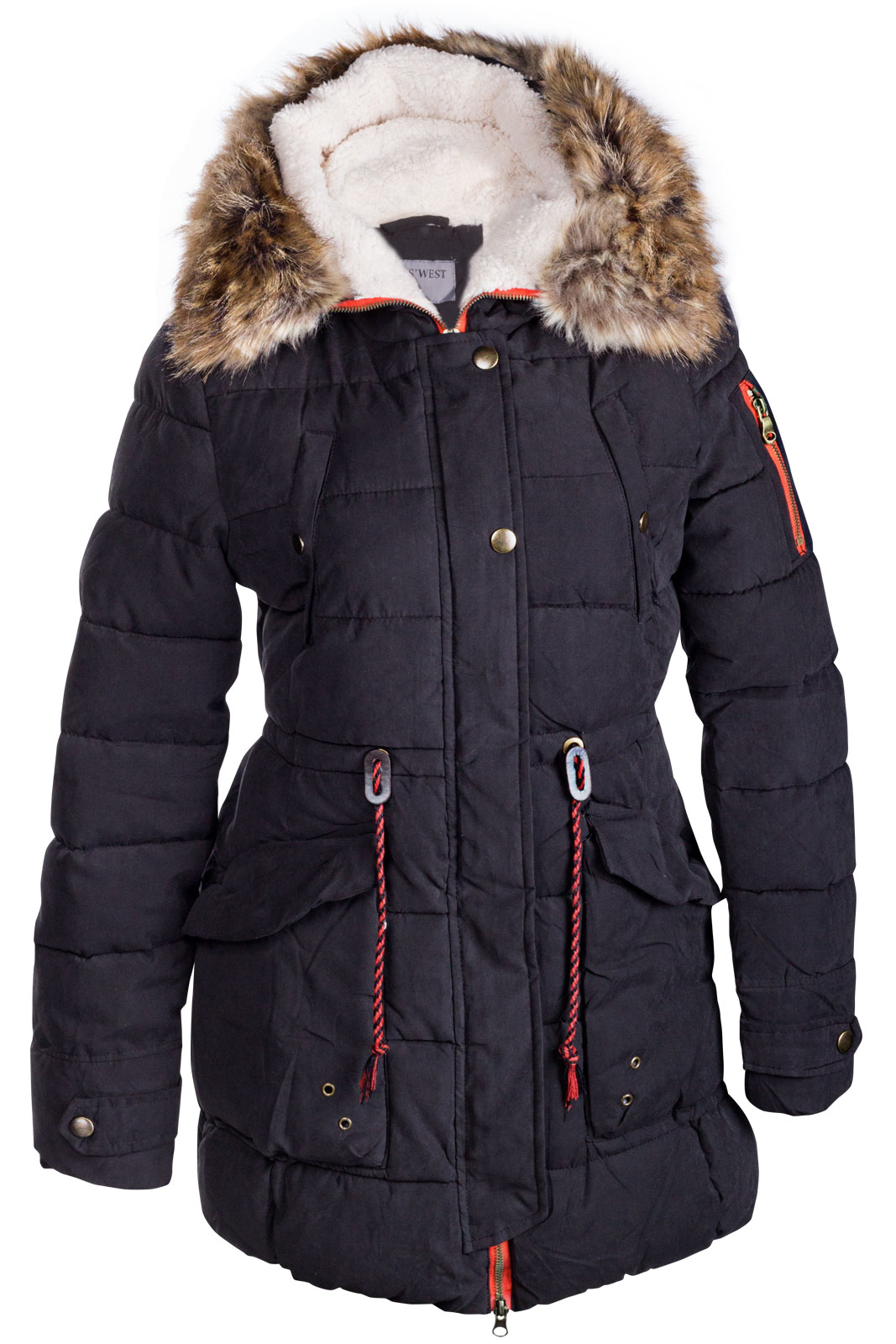 damen winter mantel jacke fell 2 in 1 kapuze stepp parka lang pelz alaska ebay. Black Bedroom Furniture Sets. Home Design Ideas
