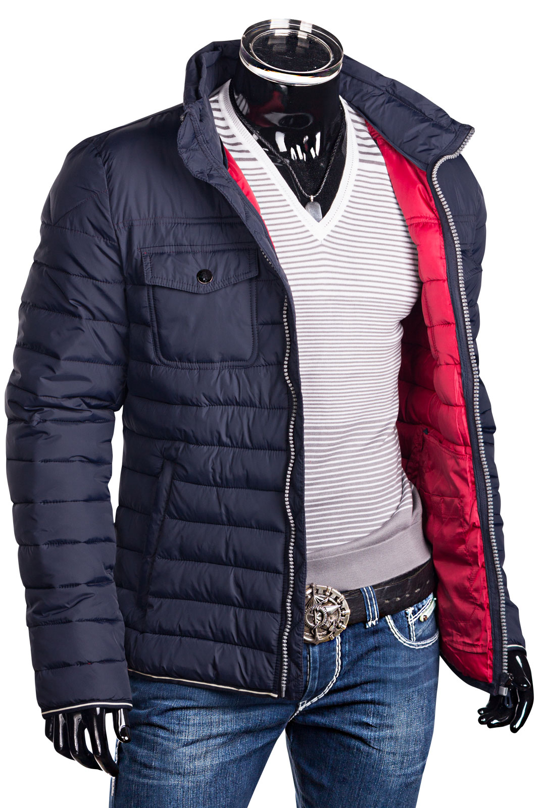 herren steppjacke winter jacke daunen look mantel kapuze bergangsjacke zip ebay. Black Bedroom Furniture Sets. Home Design Ideas