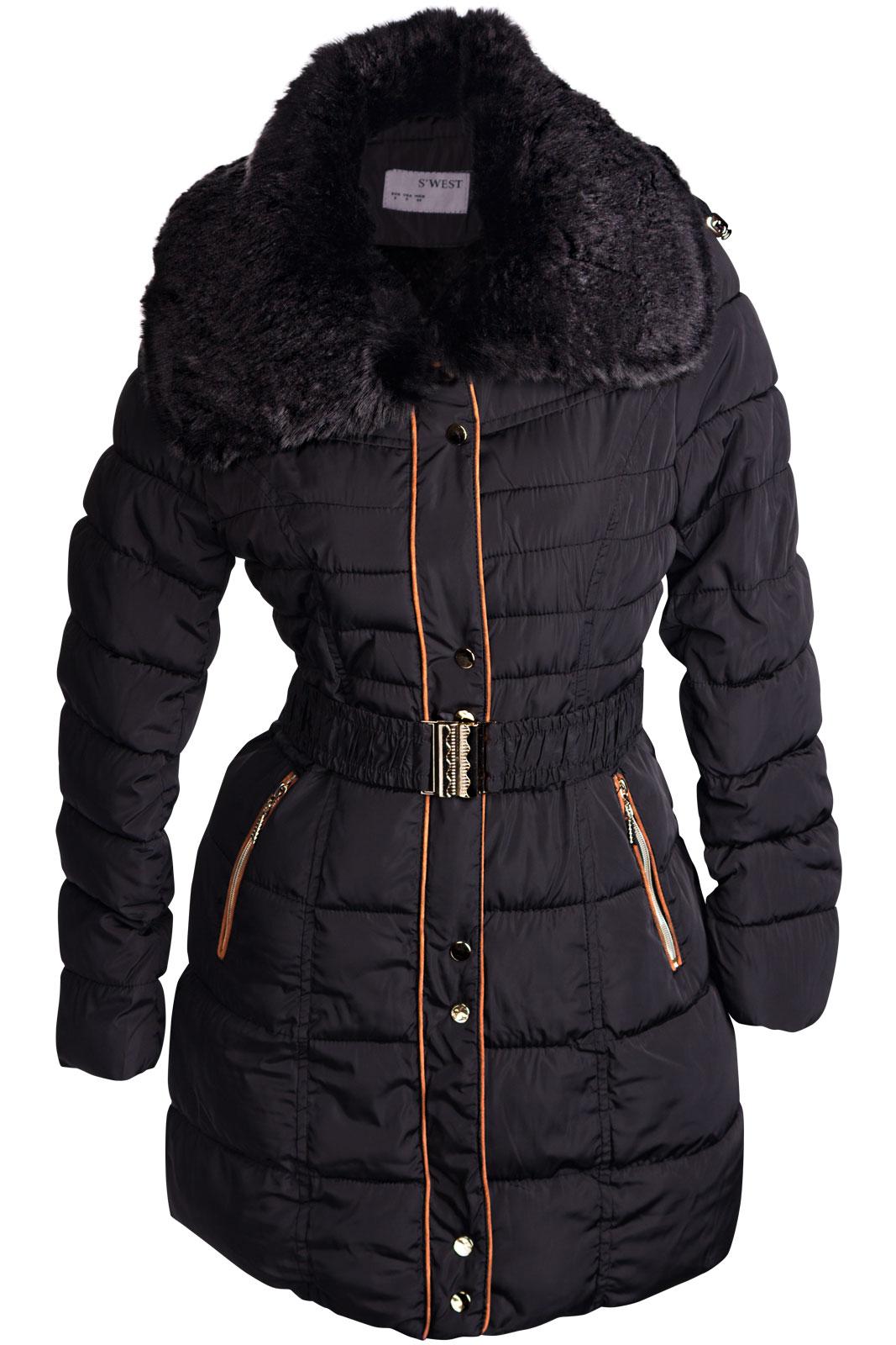 neu damen winter mantel stepp jacke parka lang fell kapuze. Black Bedroom Furniture Sets. Home Design Ideas