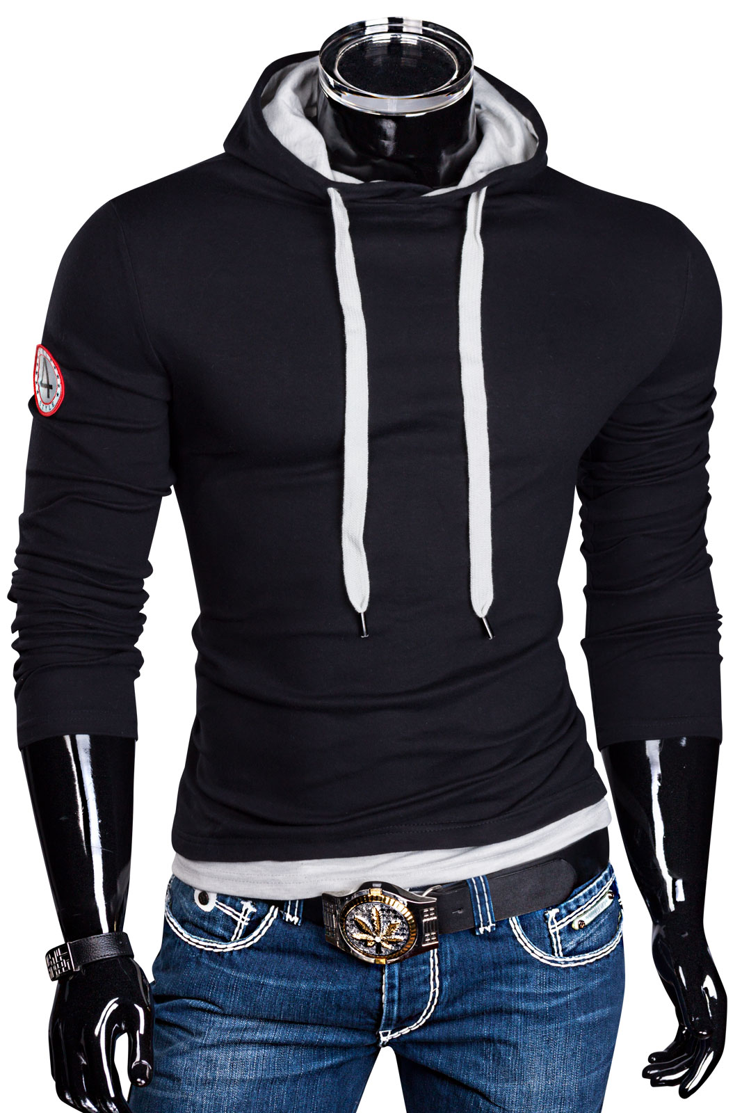 slim fit kapuzen pullover sweat hoodie jacke pulli herren. Black Bedroom Furniture Sets. Home Design Ideas