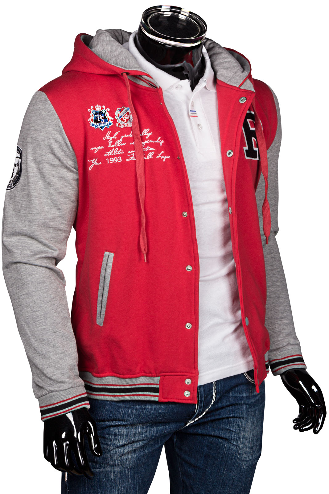 Trisens herren hoodie oldschool kapuzen college jacke sweatjacke baseball sport ebay - Rote college jacke ...