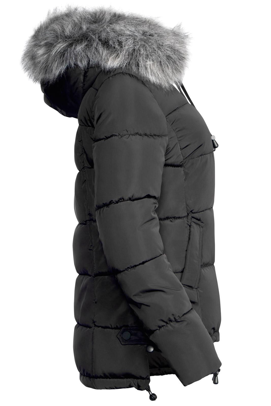 damen winter jacke pelz kapuze kurz mantel ski jacke daunen optik vokuhila ebay. Black Bedroom Furniture Sets. Home Design Ideas