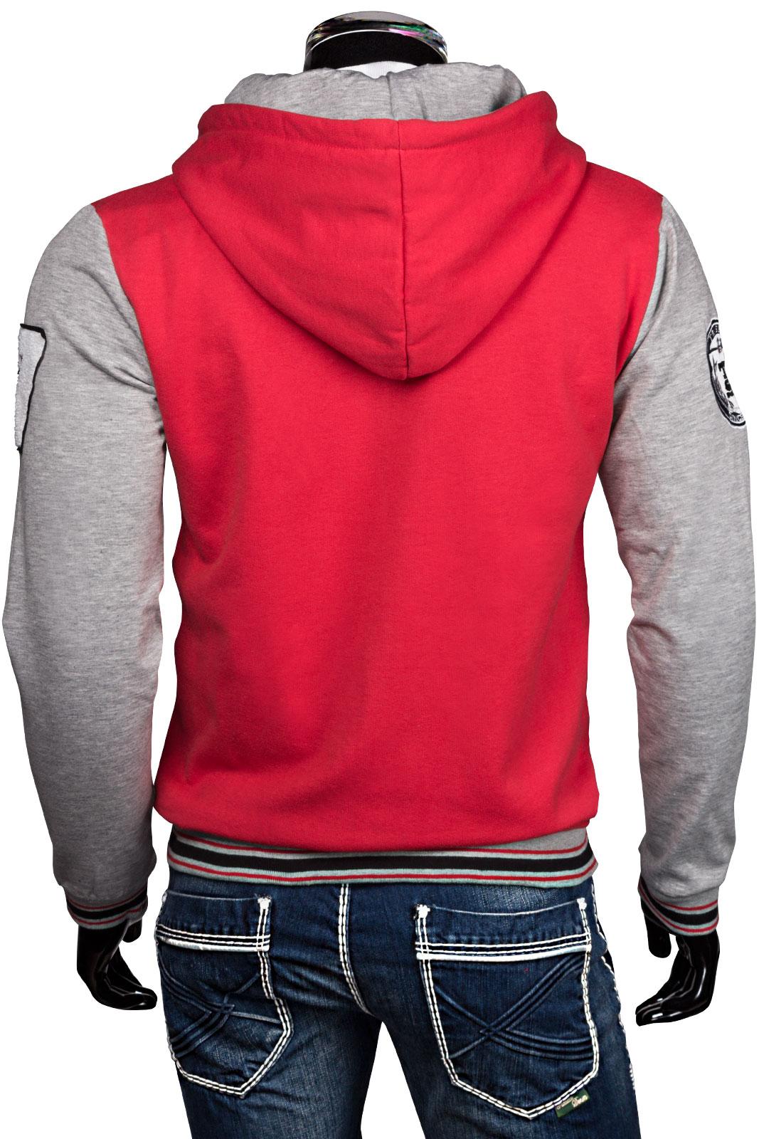 Trisens hoodie oldschool kapuzen college sport jacke sweatjacke rot xxl ebay - Rote college jacke ...