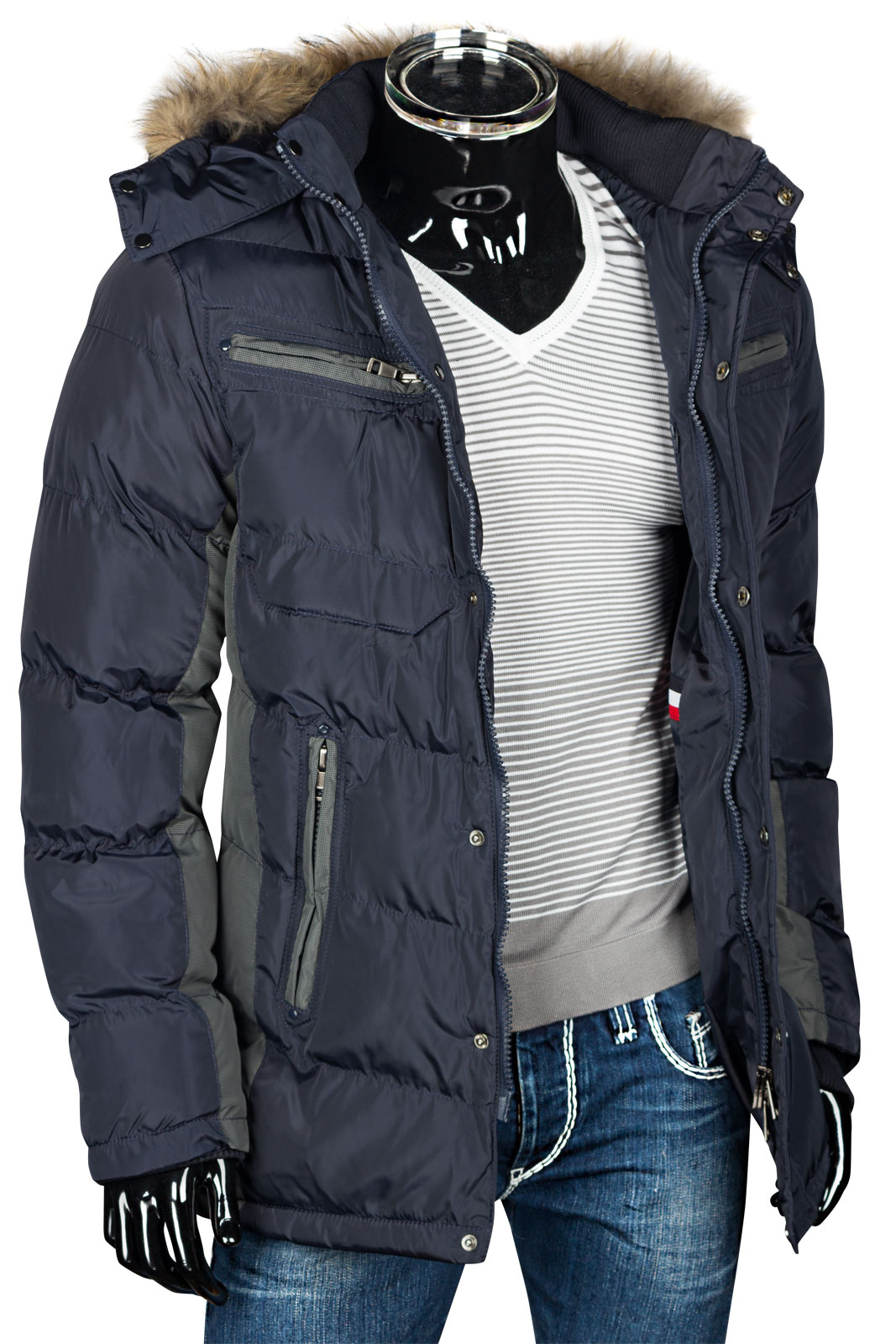 herren steppjacke winter jacke parka daunen look mantel alaska echz fell kapuze ebay. Black Bedroom Furniture Sets. Home Design Ideas