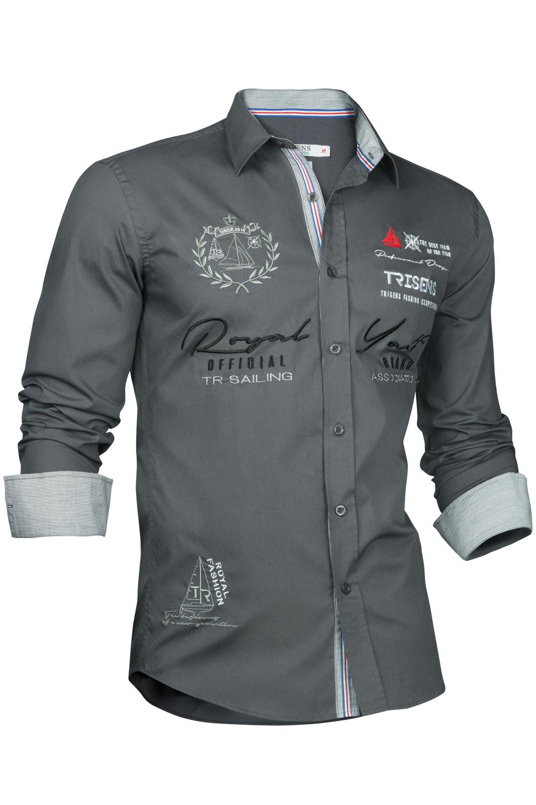 trisens herren hemd shirt bestrickt stickerei langarm. Black Bedroom Furniture Sets. Home Design Ideas